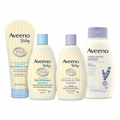 Brand New Aveeno Baby Daily Bath Time Solutions Gift Set To Prevent Dry Skin