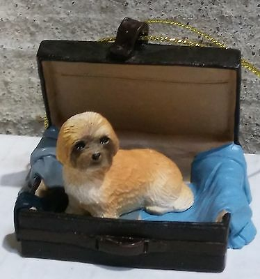 Victorian Trading Co Travel Companion Lhasa Apso Brown Puppy Ornament