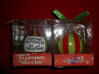 Lot of 2 Instant Happiness Red and Green Round Christmas Ornaments New Enesco