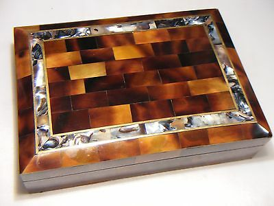 Antique Vintage Mother Of Pearl Inlaid Tiled Box