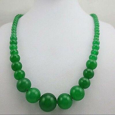 fashion 6-14mm natural green jade bead necklace 17.5 inches JN3