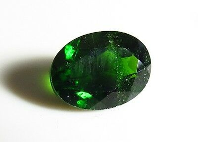 8x6mm CHROME DIOPSIDE OVAL CUT FACETED GEMSTONE - RUSSIAN MINED ROUGH