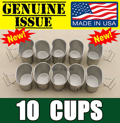 New Lot Of 10 Genuine Us Military Canteen Cups Usgi Stainless Butterfly Usmc 1Qt