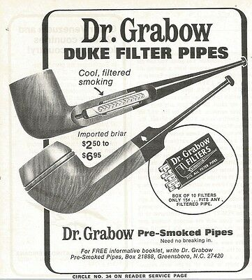 1974 Dr. Grabow Duke Filter Pre Smoked Pipes Vintage B&W Photo Print Ad