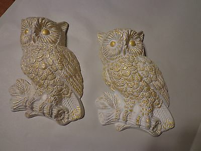 Vintage Set of Beautiful  White and Brushed Gold Owls Chalkware wall decor