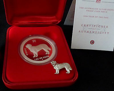 2006 DOG 1 oz PROOF COA #783 .999 Pure Silver Australia LUNAR Coin + Dog Pin