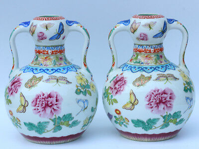 Chinese Exquisite Hand Painted butterfly flowers pattern porcelain vase / pots