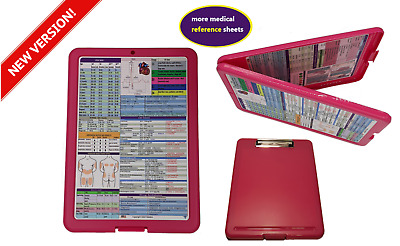 Nursing Storage Clipboard-PINK with 2 quick reference sheets -great for clinical