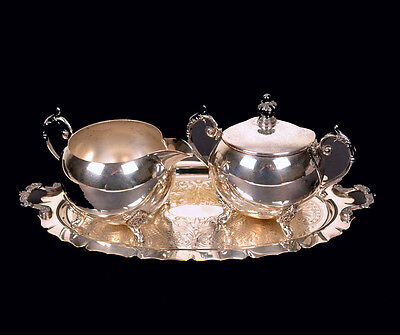 Vintage Silver on Copper Sugar Bowl and Creamer Set with Matching Tray 991BI