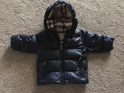 BURBERRY BABY BOYS NAVY BLUE BUBBLE COAT AGE 9 Months