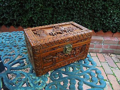 Antique Hand Carved Camphor Wood Jewellery Box Or Table Box Horse And Warriors