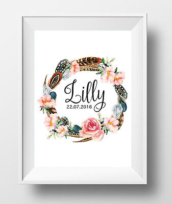 Custom Girl Baby Name Nursery Room Floral Wreath Boho A4 Wall Art Print