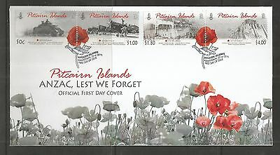 Pitcairn Islands 2010 Anzac Least We Forget Fdc Sg,802-805 Lot 4363A