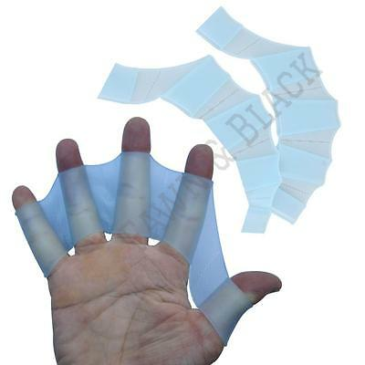 2 Pcs Pair Silicone Hand Finger Webbed Swimming Fins Palm Gloves Scuba Flippers