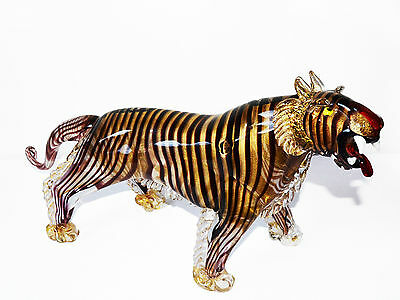 Tiger murano glass 24 carats gold sculpture 23,6 inch lenght and  18,3 lb weight