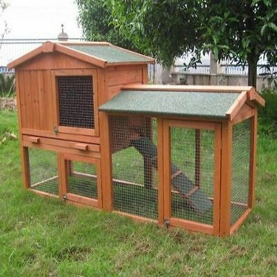 Large Rabbit Hutch Guinea Pig Run Wooden Ferret Pet Cage Double Decker House ..