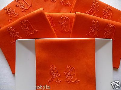 "10 Antique French Linen Napkins ""emperor Red "" Superb Quality Linen/silk Damask"