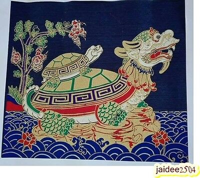 Vintag Thai Handmade Lucky Turtle Silk Screen Decor Make Money Art Picture Wall