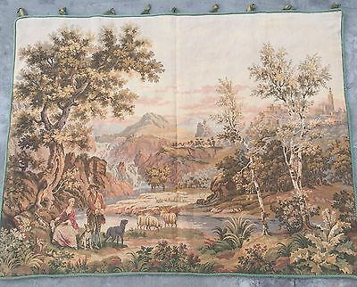 Antique French Tapestry, Love Scene, Chateau   109 By 139 Cm