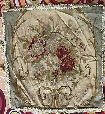 Antique 19C Aubusson French Hand Woven Tapestry Cushion No Fringe