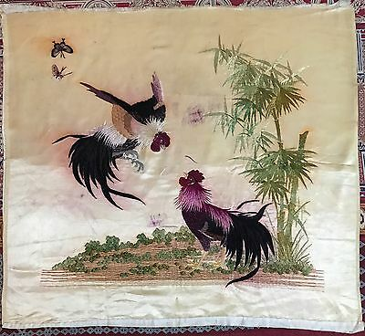 """ANTIQUE CHINESE COCK FIGHT PANEL SILK EMBROIDERY QING DYNASTY 22"""" By 24"""""""