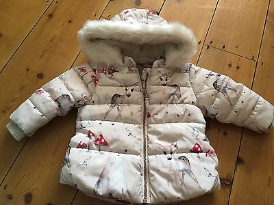 Next Girls Deer Toadstool Woodland Coat - Age 9-12 Months Very Warm Beautiful