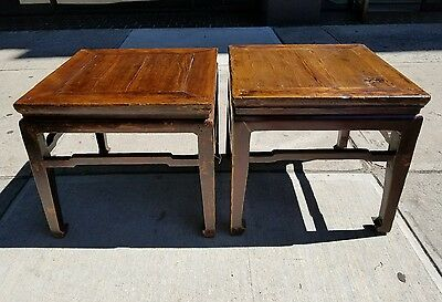 Pair Early Antique Chinese Rosewood Wood End tables/stools circa 1850's