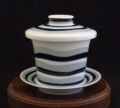 Matsubara Traditional Lidded Tea Cup & Saucer Set Fine Porcelain Made in Japan