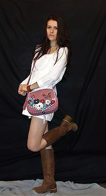 Handmade Pink Leather Bag, Cross Body Flower Bag, Exclusive Bag, Special gift