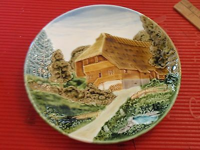 """Vintage Hand Painted Porcelain Relief Plate Germany Cico  9 """" House  And  Woods"""