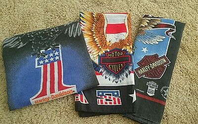 Harley Davidson vintage bandana lot of 3