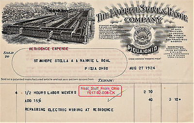 Favorite Stove & Range Company 1924 Invoice For Repairs @ The President's Home
