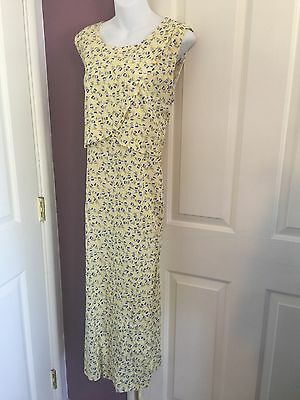 NWT Nursing Breastfeeding Dress Rayon Yellow Floral Medium Roomy Tie Back Womens