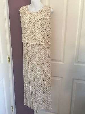 NWT Nursing Breastfeeding Dress Rayon Beige Floral Medium+ Roomy Back Tie Back