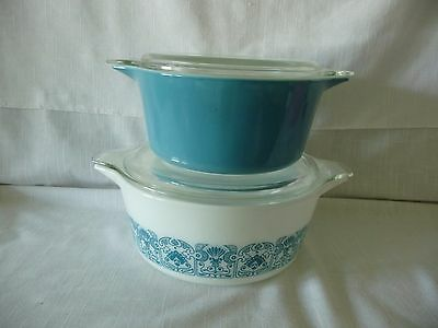 Vintage Pyrex  Casserole's  474 &  475 Blue Horizon with Lids