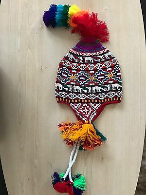 Peruvian Chullo Hat With Beads Multicoloured Rave Festival  Hand Made ^6