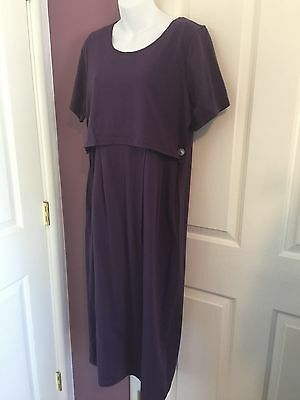 NWT Nursing Breastfeeding Dress Purple Medium Cotton Poly Short Sleeve Pockets