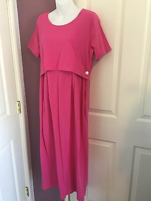 NWT Nursing Breastfeeding Dress Pink Medium Cotton Poly Short Sleeve Pockets