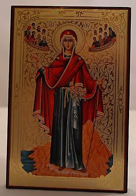 Beautiful, Gilded, Wooden, Orthodox Icon of The Theotokos Protectress of Athos