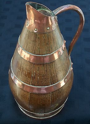 Vintage French Dark Oak Coopered Cider Barrel Jug Pitcher