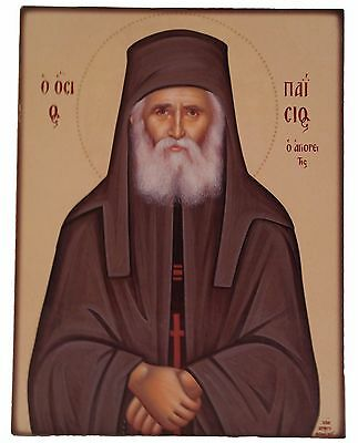 Beautiful,  Wooden,Orthodox Icon of Saint Paisios the Athonite (Large size only)