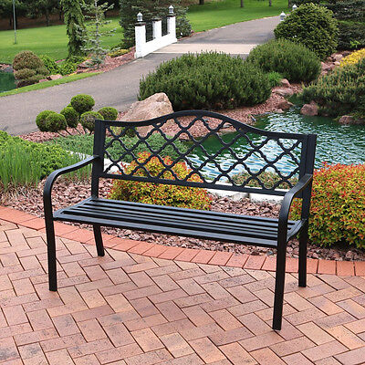50-Inch Outdoor Black Cast Iron Lattice Patio Garden Bench
