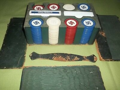 Antique Swastika Poker Chip Set w/ Leather Case