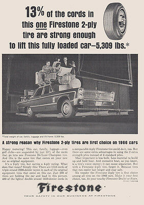 1966 Firestone: 2 Ply Tires, Lift this Fully Loaded Car (26991) Print Ad