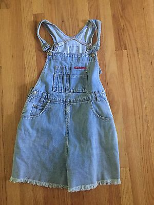vtg NO EXCUSES jean DENIM overalls raw hem shorts jumper romper festival 90s L