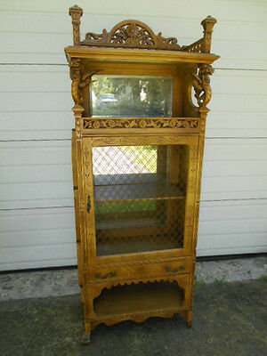 Parts or Repair Gargoyled  Mirrored/Doored Etagere-Restoration Project!