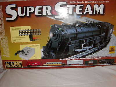 K-Line K-1904 Santa Fe Classic SuperSnap Steam Train Set O 027 New 1999 Complete