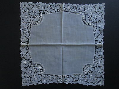 ANTIQUE WEDDING BRIDAL HANDKERCHIEF Embroidered Net Chemical Lace Hand Sewn Vtg