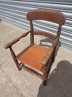Antique 20th Century Child's Commode Armchair Chair Turned Wooden Restore Oak ?