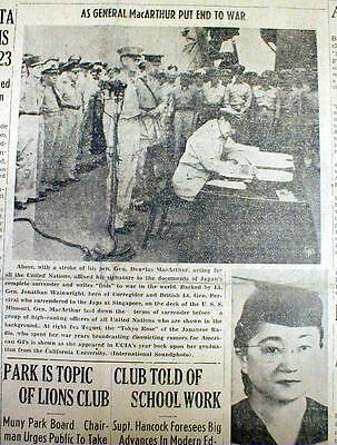5 1945 newspapers JAPAN SIGNS SURRENDER DOCUMENT on USS MISSOURI - End to WW II